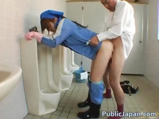 Asian beauty is cleaning the mens room part4